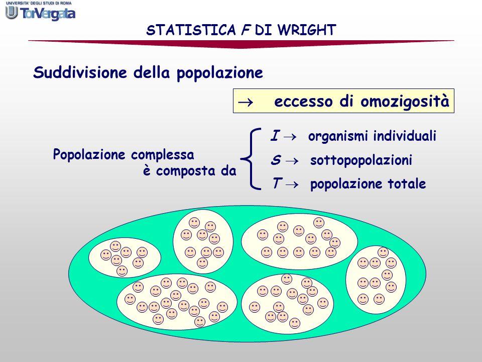 Si definiscono: STATISTICA F DI WRIGHT H I = eterozigosità media osservata tra le popolazioni H s = eterozigosità attesa della sottopopolazione secondo la legge di Hardy-Weinberg H T = eterozigosità attesa di una popolazione complessiva con accoppiamento casuale