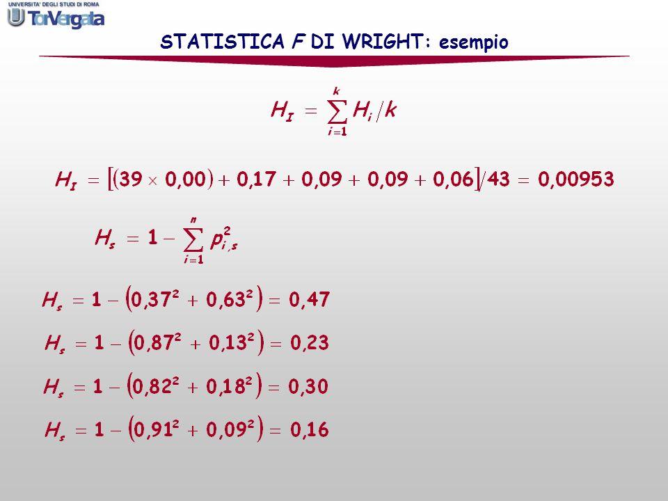 STATISTICA F DI WRIGHT: esempio