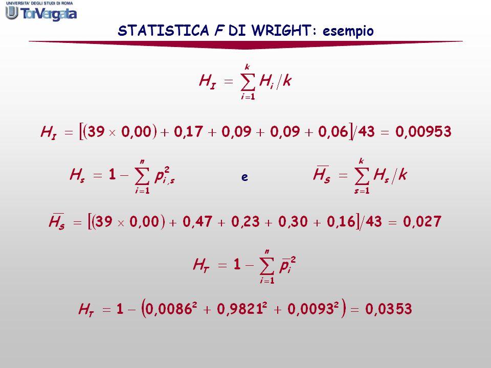 STATISTICA F DI WRIGHT: esempio e