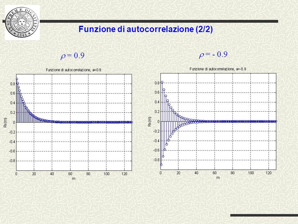Funzione di autocorrelazione (2/2) = - 0.9 = 0.9