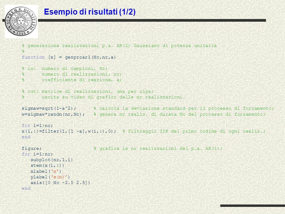 Esempio di risultati (1/2) % generazione realizzazioni p.a. AR(1) Gaussiano di potenza unitaria % function [x] = genproar1(Nc,nr,a) % in: numero di ca