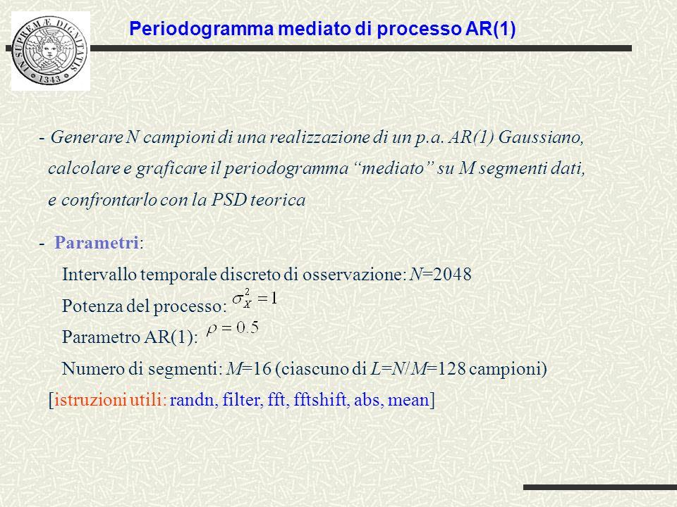 - Generare N campioni di una realizzazione di un p.a. AR(1) Gaussiano, calcolare e graficare il periodogramma mediato su M segmenti dati, e confrontar