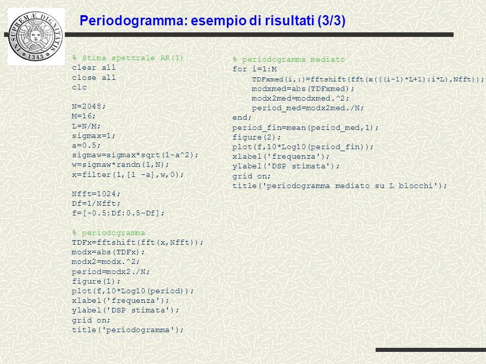 Periodogramma: esempio di risultati (3/3) % Stima spettrale AR(1) clear all close all clc N=2048; M=16; L=N/M; sigmax=1; a=0.5; sigmaw=sigmax*sqrt(1-a
