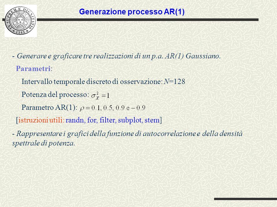 - Generare e graficare tre realizzazioni di un p.a. AR(1) Gaussiano. Parametri: Intervallo temporale discreto di osservazione: N=128 Potenza del proce