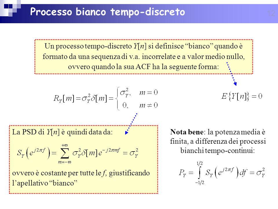 12 Processo bianco tempo-discreto Un processo tempo-discreto Y[n] si definisce bianco quando è formato da una sequenza di v.a. incorrelate e a valor m