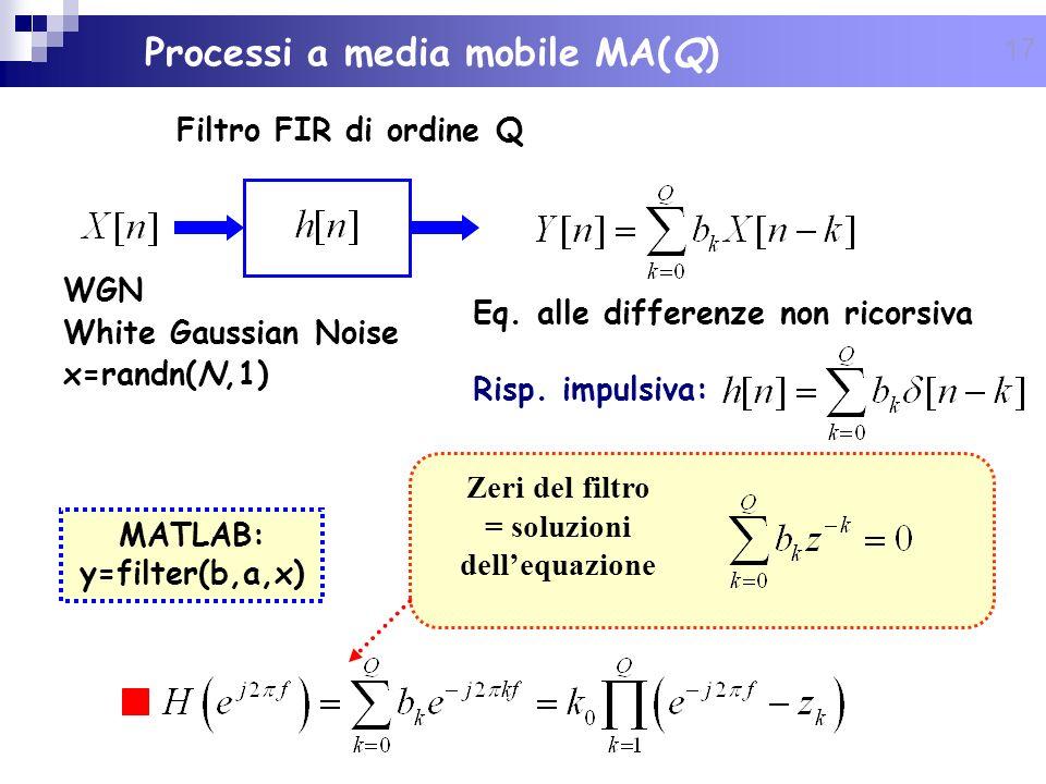 17 Eq. alle differenze non ricorsiva Risp. impulsiva: MATLAB: y=filter(b,a,x) Zeri del filtro = soluzioni dellequazione WGN White Gaussian Noise x=ran