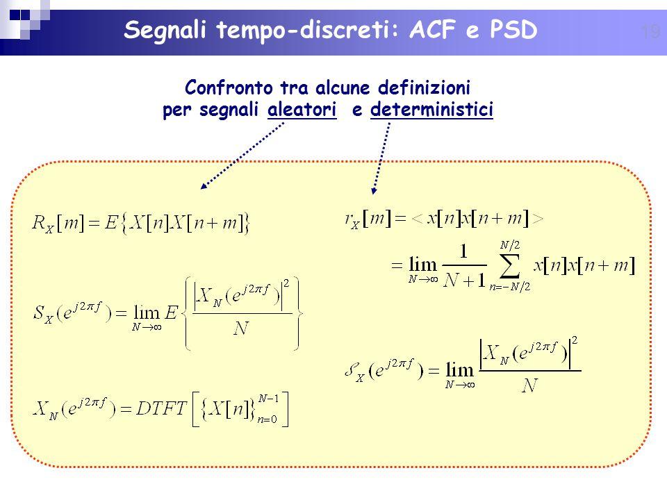19 Segnali tempo-discreti: ACF e PSD Confronto tra alcune definizioni per segnali aleatori e deterministici