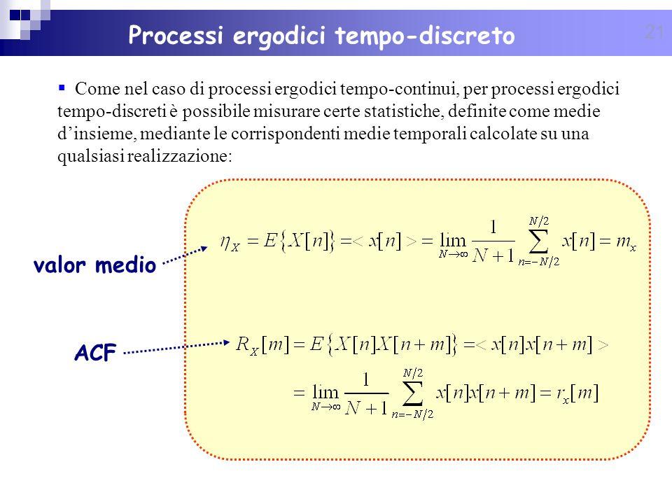 21 Processi ergodici tempo-discreto Come nel caso di processi ergodici tempo-continui, per processi ergodici tempo-discreti è possibile misurare certe