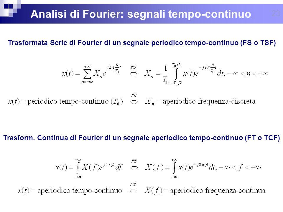23 Analisi di Fourier: segnali tempo-continuo Trasform. Continua di Fourier di un segnale aperiodico tempo-continuo (FT o TCF) Trasformata Serie di Fo