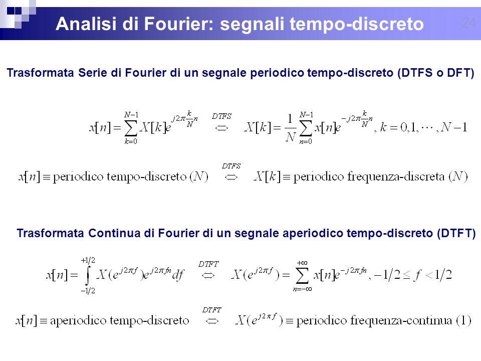 24 Analisi di Fourier: segnali tempo-discreto Trasformata Serie di Fourier di un segnale periodico tempo-discreto (DTFS o DFT) Trasformata Continua di