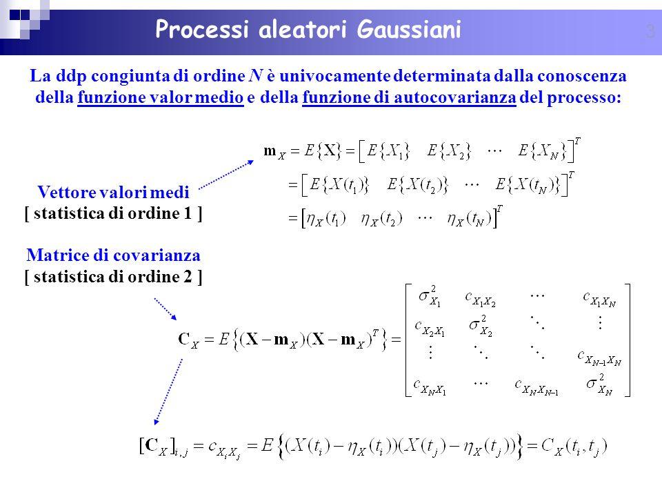 4 Proprietà dei vettori Gaussiani Proprietà 1 Proprietà 1: la ddp congiunta di ordine N di un vettore aleatorio Gaussiano è completamente specificata dal vettore valori medi e dalla matrice di covarianza Proprietà 2 Proprietà 2: una trasformazione lineare di vettori Gaussiani preserva la Gaussianità: Proprietà 3 Proprietà 3: una qualsiasi r-upla di v.a.