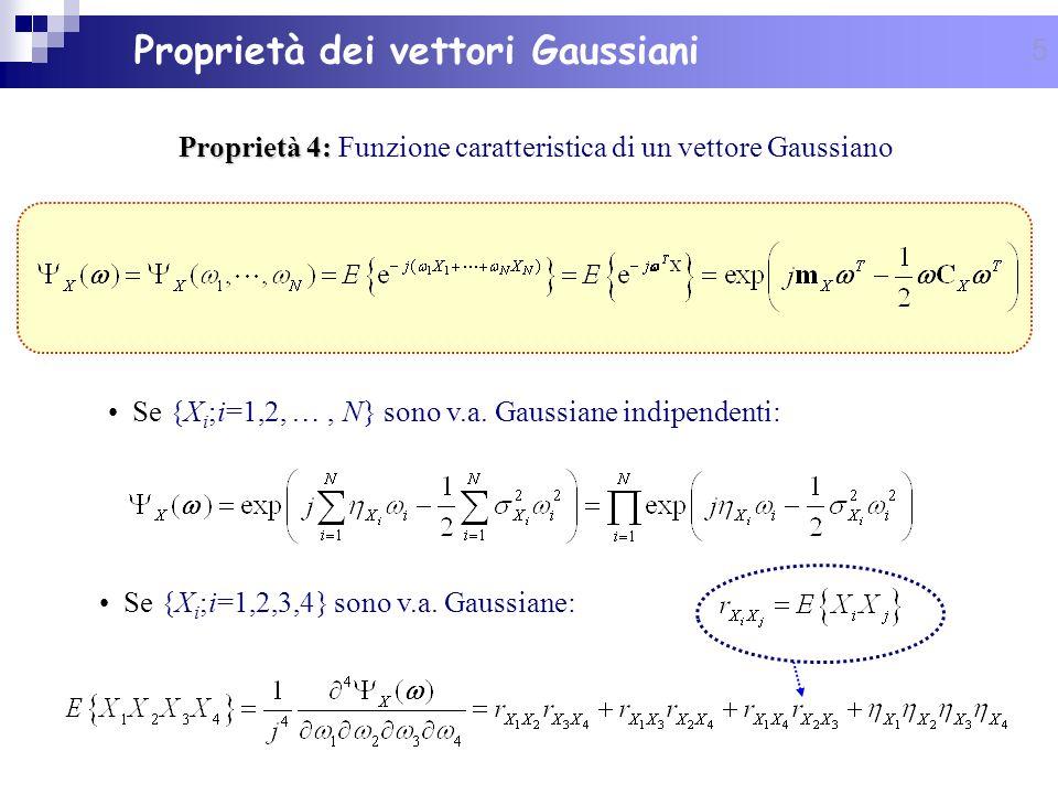 5 Se {X i ;i=1,2,3,4} sono v.a. Gaussiane: Proprietà 4: Proprietà 4: Funzione caratteristica di un vettore Gaussiano Se {X i ;i=1,2, …, N} sono v.a. G