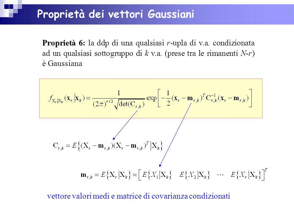 7 Proprietà 6 Proprietà 6: la ddp di una qualsiasi r-upla di v.a. condizionata ad un qualsiasi sottogruppo di k v.a. (prese tra le rimanenti N-r) è Ga