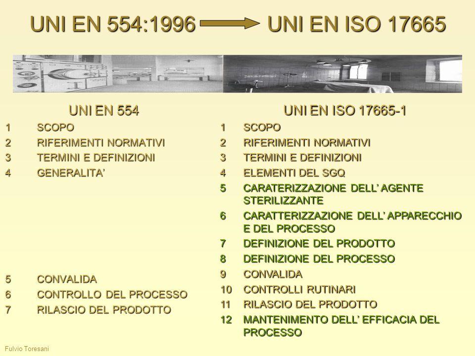 Fulvio Toresani UNI EN 554:1996UNI EN ISO 17665 UNI EN 554 1SCOPO 2RIFERIMENTI NORMATIVI 3TERMINI E DEFINIZIONI 4GENERALITA 5CONVALIDA 6CONTROLLO DEL