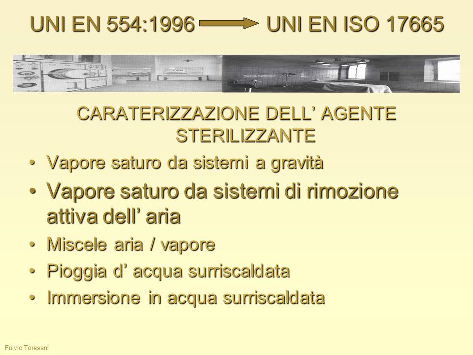 Fulvio Toresani CARATERIZZAZIONE DELL AGENTE STERILIZZANTE Vapore saturo da sistemi a gravitàVapore saturo da sistemi a gravità Vapore saturo da siste