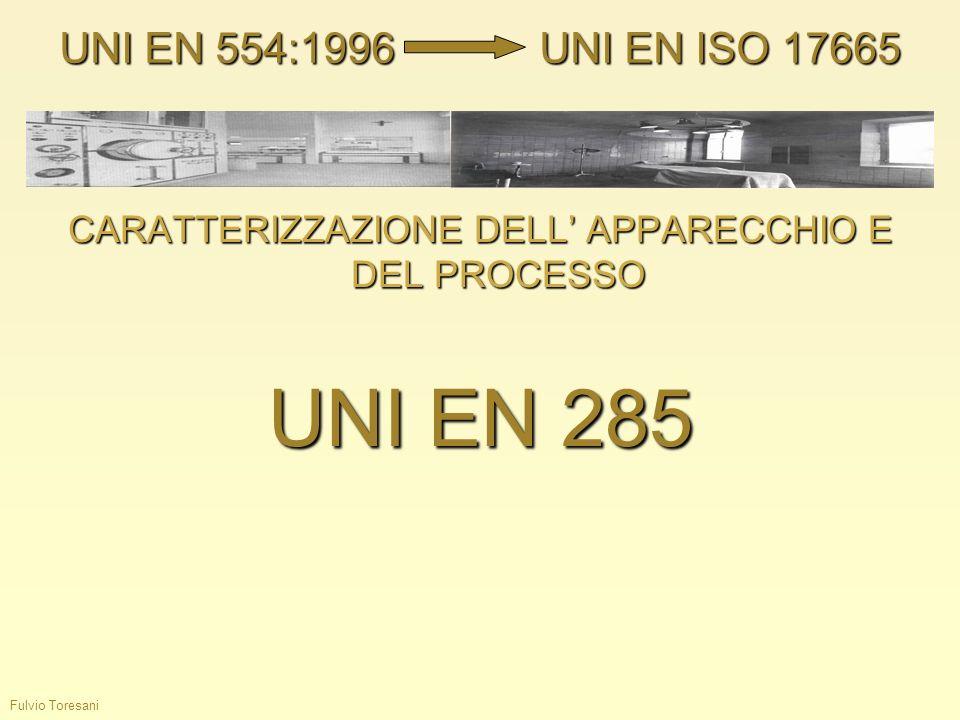 Fulvio Toresani CARATTERIZZAZIONE DELL APPARECCHIO E DEL PROCESSO UNI EN 285 UNI EN 554:1996UNI EN ISO 17665