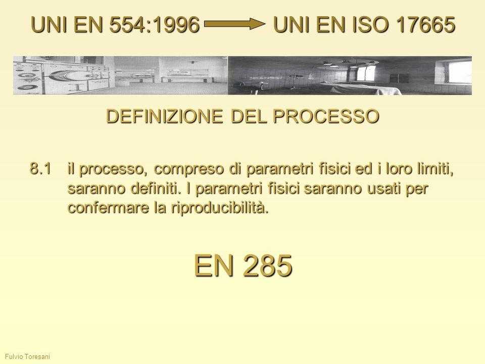 Fulvio Toresani DEFINIZIONE DEL PROCESSO 8.1il processo, compreso di parametri fisici ed i loro limiti, saranno definiti. I parametri fisici saranno u