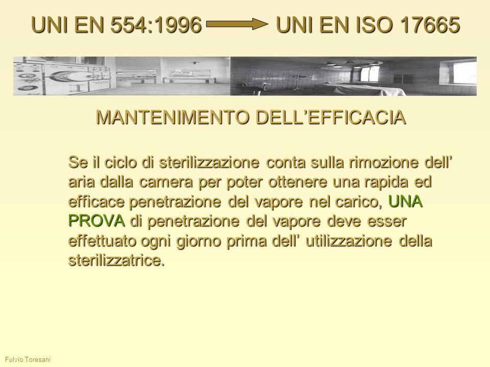 Fulvio Toresani MANTENIMENTO DELLEFFICACIA Se il ciclo di sterilizzazione conta sulla rimozione dell aria dalla camera per poter ottenere una rapida e