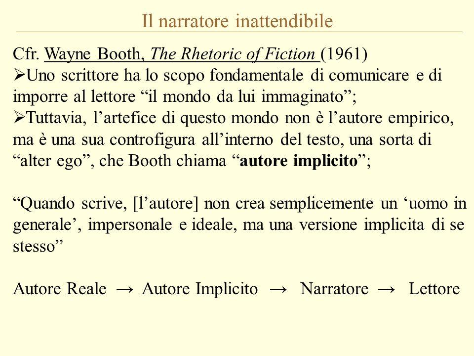 Il narratore inattendibile Wayne Booth, The Rhetoric of Fiction (1961): Ho chiamato attendibile [reliable] il narratore che parla o agisce in armonia con le norme dellopera [the norms of the work] (cioè con quelle dellautore implicito), inattendibile [unreliable] quello che non lo fa.