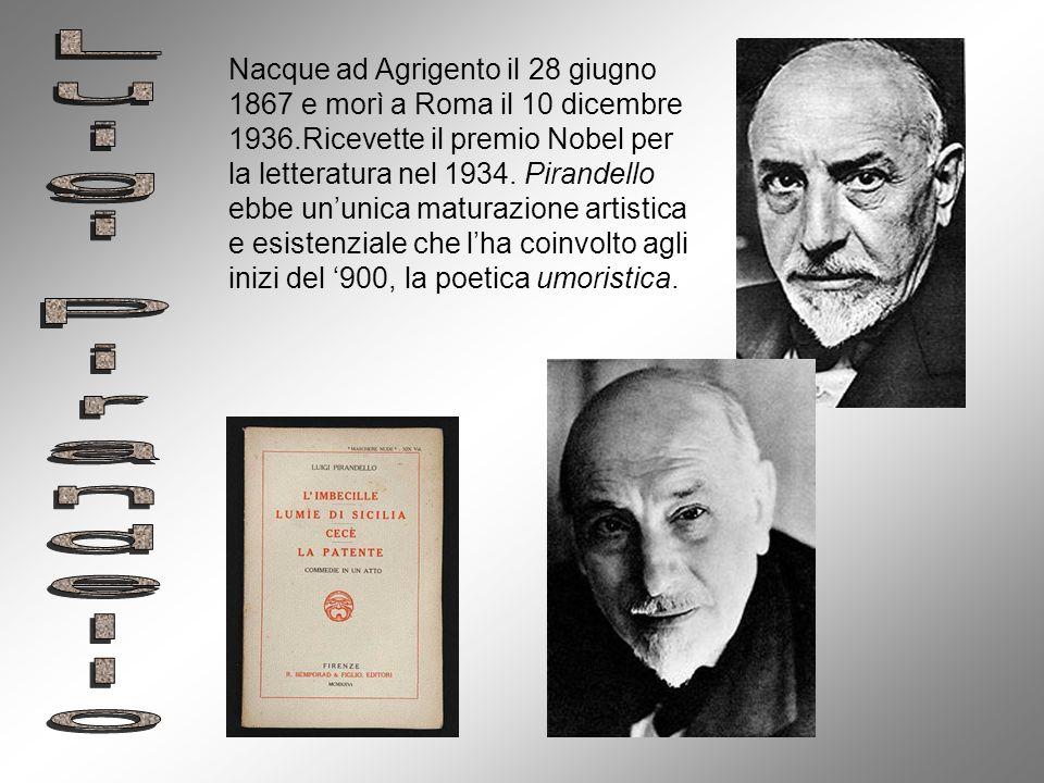 Nacque ad Agrigento il 28 giugno 1867 e morì a Roma il 10 dicembre 1936.Ricevette il premio Nobel per la letteratura nel 1934. Pirandello ebbe ununica