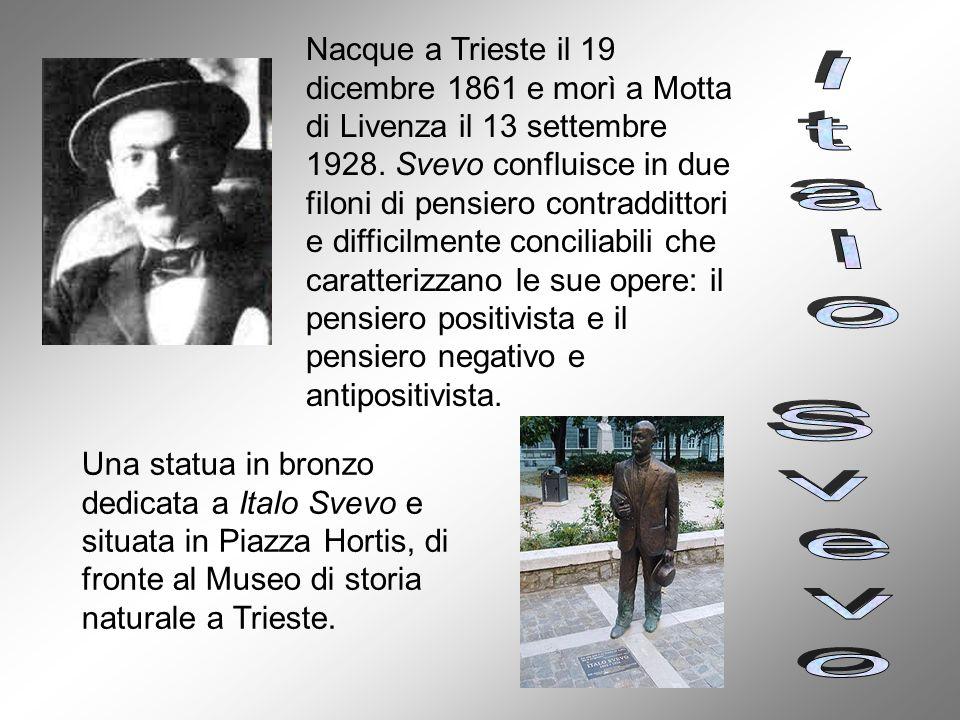 Nacque a Trieste il 19 dicembre 1861 e morì a Motta di Livenza il 13 settembre 1928. Svevo confluisce in due filoni di pensiero contraddittori e diffi