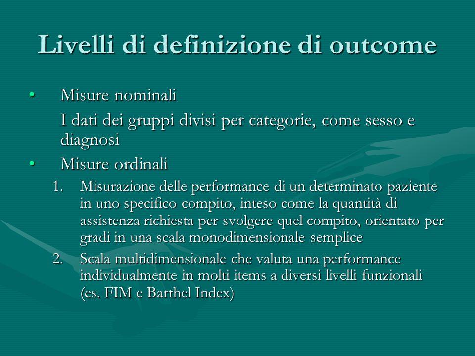 Livelli di definizione di outcome Misure nominaliMisure nominali I dati dei gruppi divisi per categorie, come sesso e diagnosi Misure ordinaliMisure o