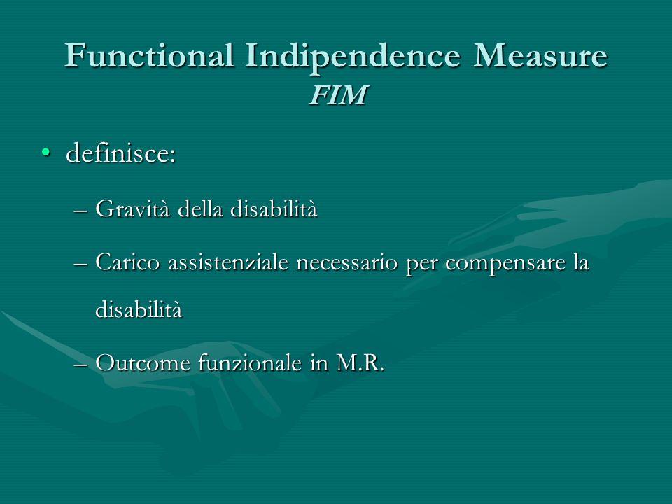 Functional Indipendence Measure FIM definisce:definisce: –Gravità della disabilità –Carico assistenziale necessario per compensare la disabilità –Outc