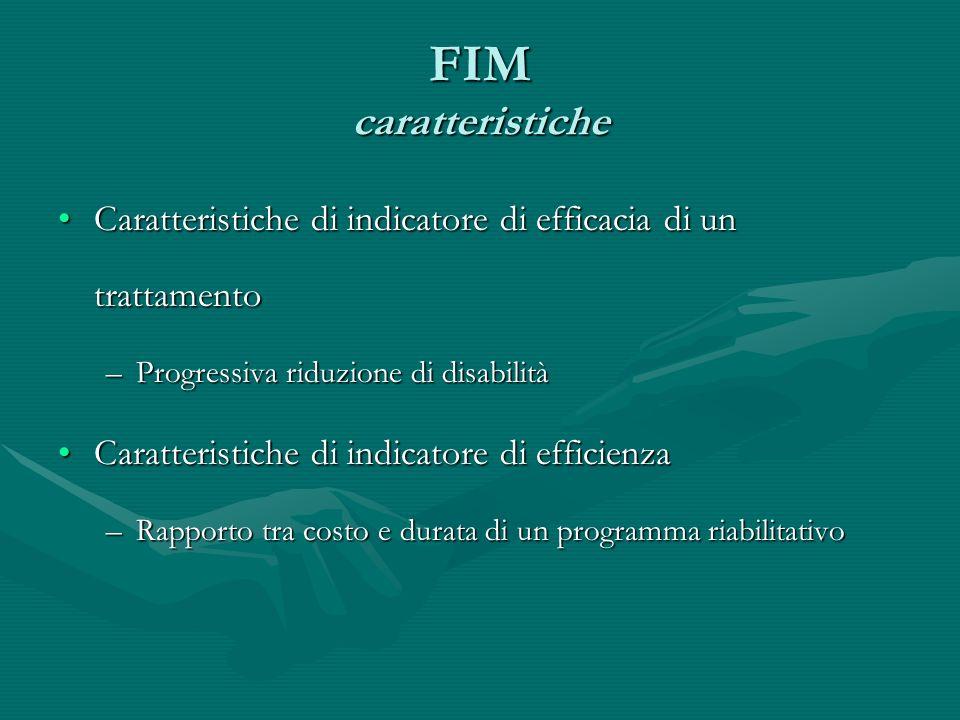 FIM caratteristiche Caratteristiche di indicatore di efficacia di un trattamentoCaratteristiche di indicatore di efficacia di un trattamento –Progress