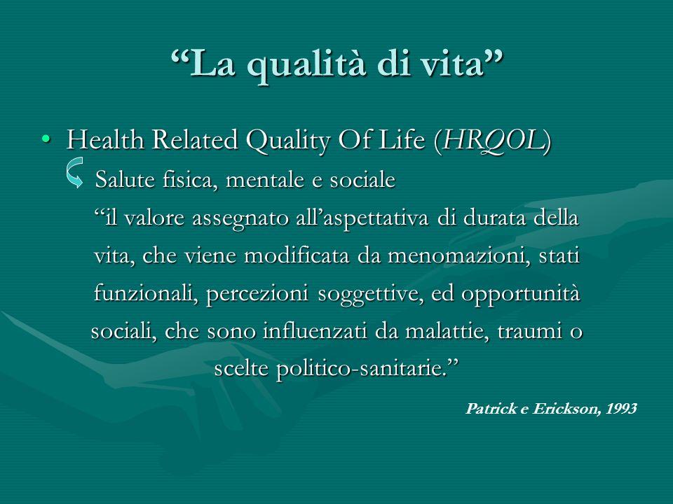 La qualità di vita Health Related Quality Of Life (HRQOL)Health Related Quality Of Life (HRQOL) Salute fisica, mentale e sociale il valore assegnato a