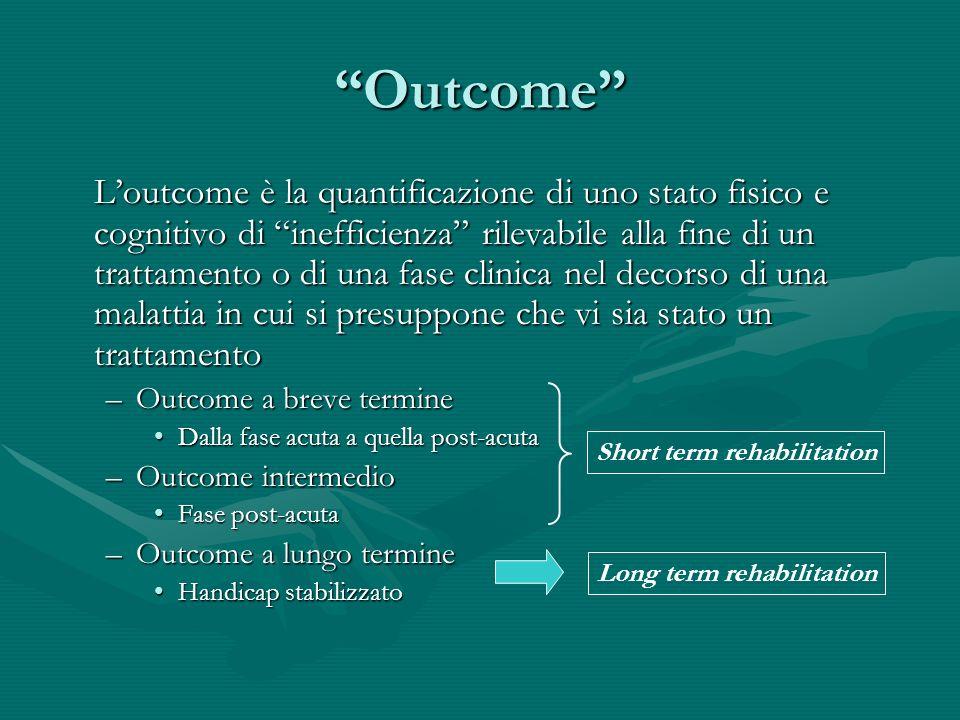 Outcome Loutcome è la quantificazione di uno stato fisico e cognitivo di inefficienza rilevabile alla fine di un trattamento o di una fase clinica nel