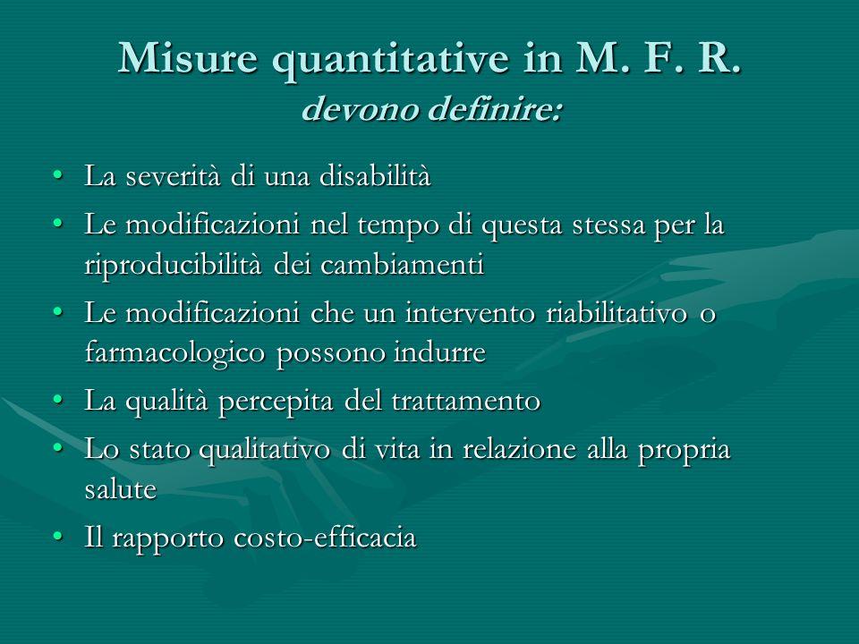 Misure quantitative in M. F. R. devono definire: La severità di una disabilitàLa severità di una disabilità Le modificazioni nel tempo di questa stess