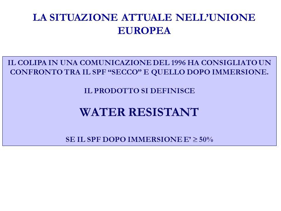 LA SITUAZIONE ATTUALE NELLUNIONE EUROPEA IL COLIPA IN UNA COMUNICAZIONE DEL 1996 HA CONSIGLIATO UN CONFRONTO TRA IL SPF SECCO E QUELLO DOPO IMMERSIONE.