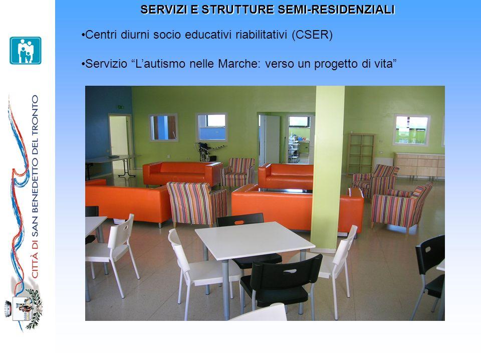 SERVIZI E STRUTTURE SEMI-RESIDENZIALI Centri diurni socio educativi riabilitativi (CSER) Centri diurni socio educativi riabilitativi (CSER): due centri diurni, LArcobaleno e Biancazzurro, gestiti in convenzione con Cooperative Sociali.