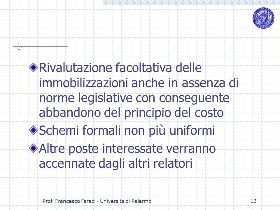 Prof. Francesco Faraci - Università di Palermo 12 Rivalutazione facoltativa delle immobilizzazioni anche in assenza di norme legislative con conseguen