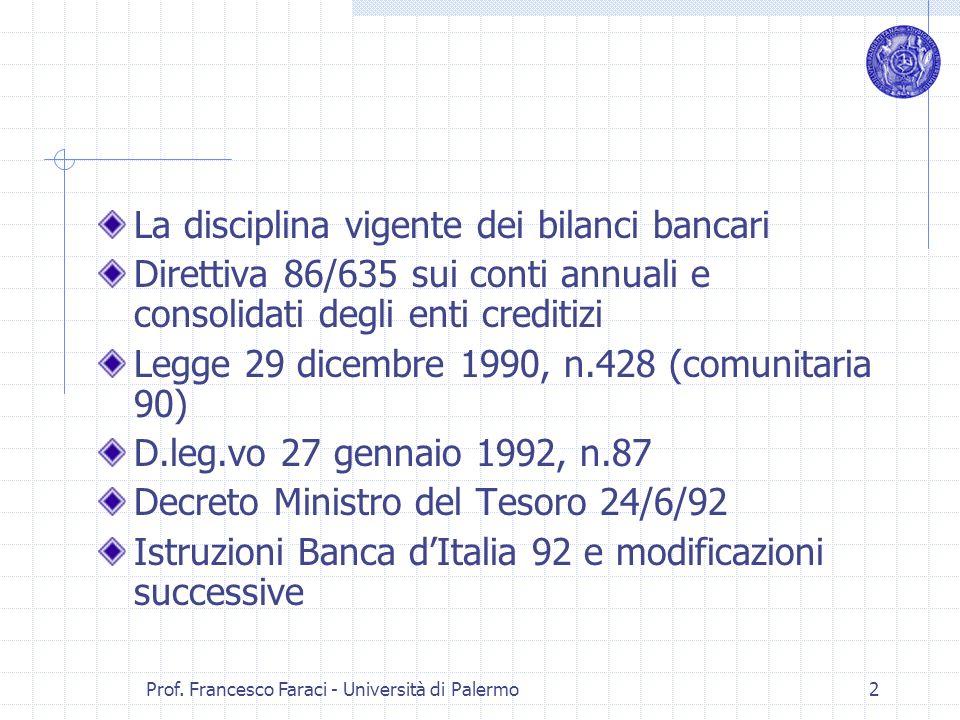 Prof. Francesco Faraci - Università di Palermo 2 La disciplina vigente dei bilanci bancari Direttiva 86/635 sui conti annuali e consolidati degli enti