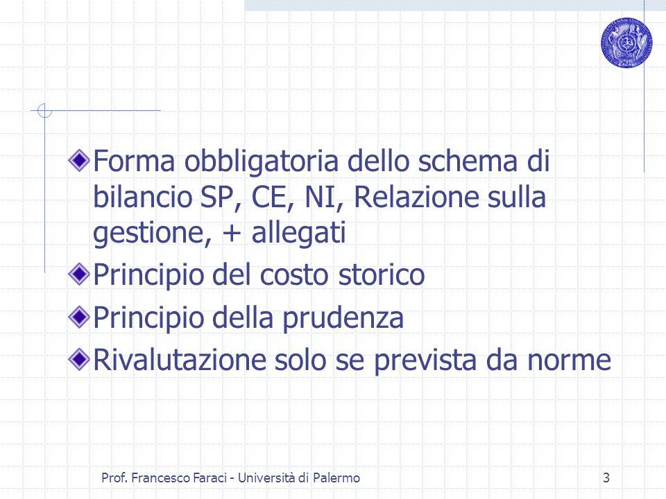 Prof. Francesco Faraci - Università di Palermo 3 Forma obbligatoria dello schema di bilancio SP, CE, NI, Relazione sulla gestione, + allegati Principi