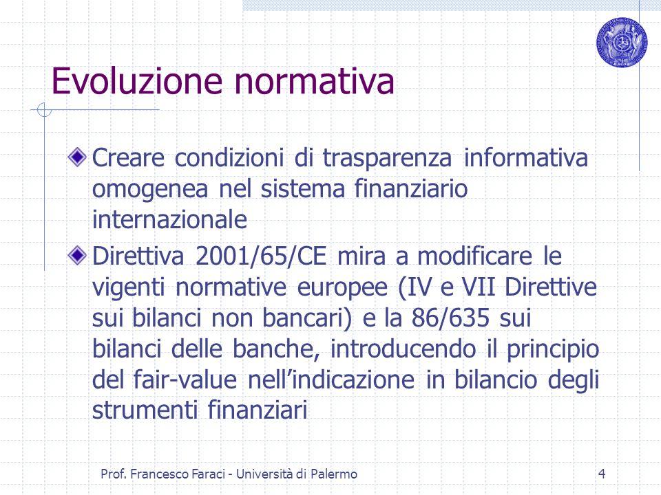 Prof. Francesco Faraci - Università di Palermo 4 Evoluzione normativa Creare condizioni di trasparenza informativa omogenea nel sistema finanziario in