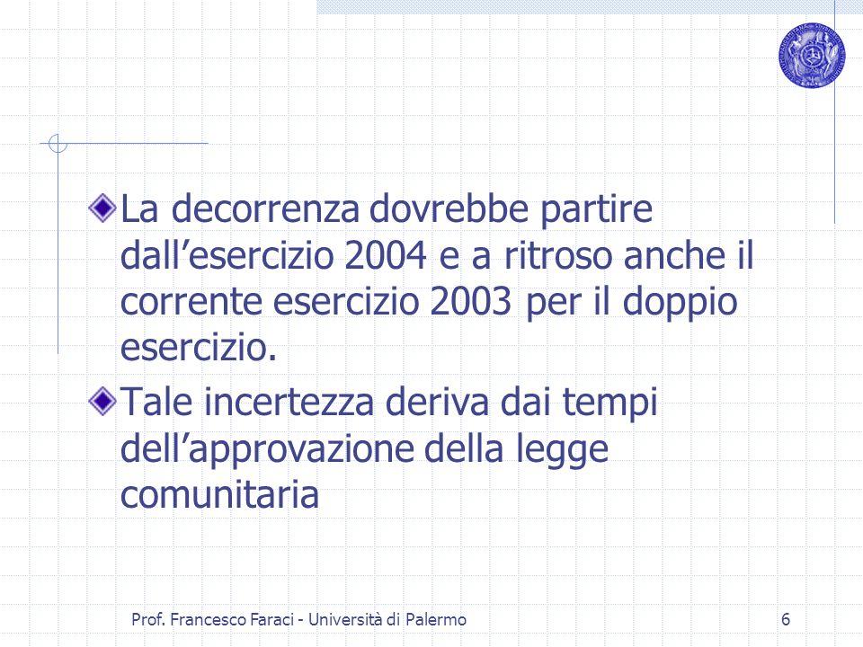 Prof. Francesco Faraci - Università di Palermo 6 La decorrenza dovrebbe partire dallesercizio 2004 e a ritroso anche il corrente esercizio 2003 per il