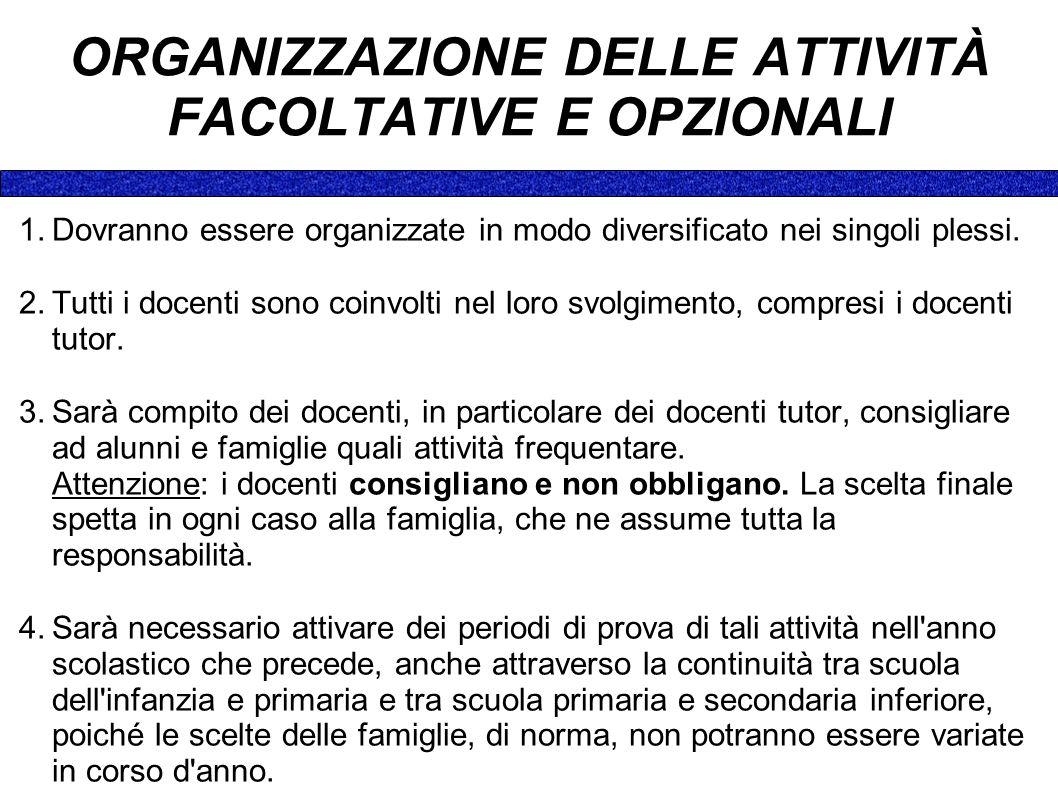 ORGANIZZAZIONE DELLE ATTIVITÀ FACOLTATIVE E OPZIONALI 1.Dovranno essere organizzate in modo diversificato nei singoli plessi.