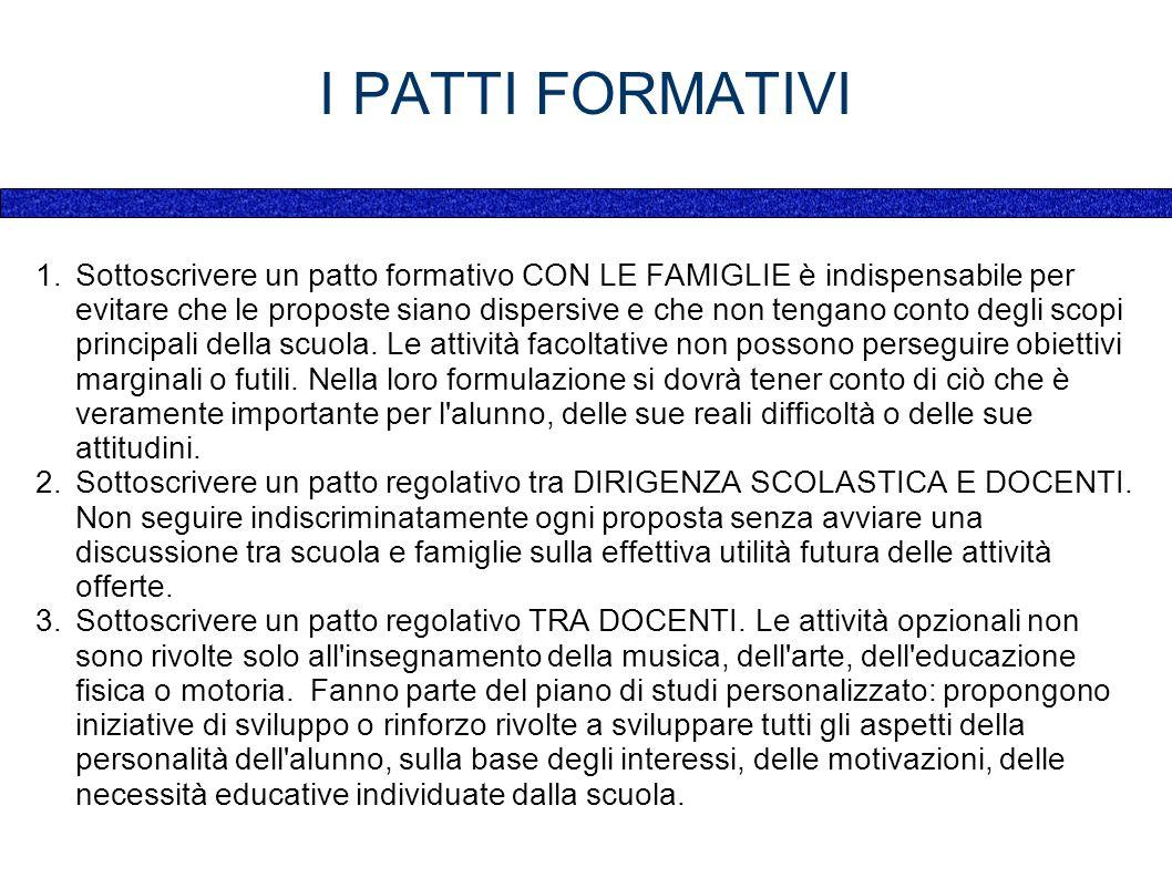I PATTI FORMATIVI 1.Sottoscrivere un patto formativo CON LE FAMIGLIE è indispensabile per evitare che le proposte siano dispersive e che non tengano conto degli scopi principali della scuola.