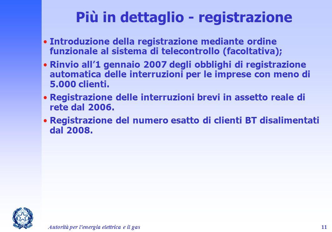 Autorità per l'energia elettrica e il gas11 Più in dettaglio - registrazione Introduzione della registrazione mediante ordine funzionale al sistema di