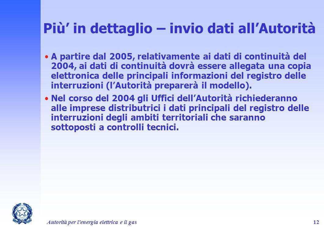 Autorità per l'energia elettrica e il gas12 Più in dettaglio – invio dati allAutorità A partire dal 2005, relativamente ai dati di continuità del 2004
