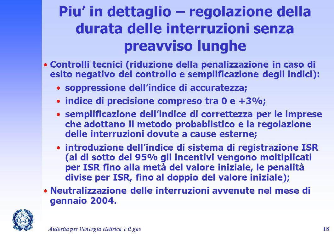 Autorità per l'energia elettrica e il gas18 Piu in dettaglio – regolazione della durata delle interruzioni senza preavviso lunghe Controlli tecnici (r