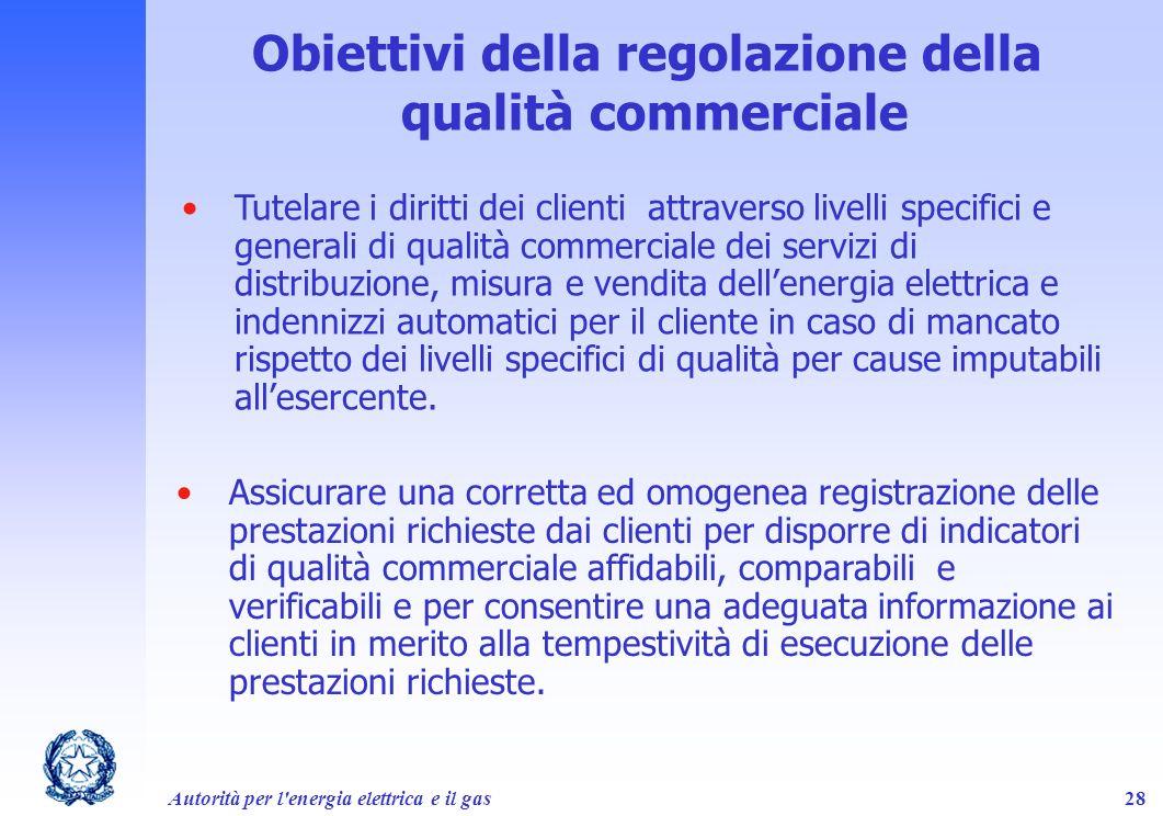 Autorità per l'energia elettrica e il gas28 Obiettivi della regolazione della qualità commerciale Tutelare i diritti dei clienti attraverso livelli sp