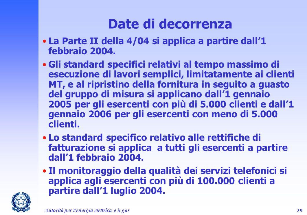 Autorità per l'energia elettrica e il gas39 La Parte II della 4/04 si applica a partire dall1 febbraio 2004. Gli standard specifici relativi al tempo