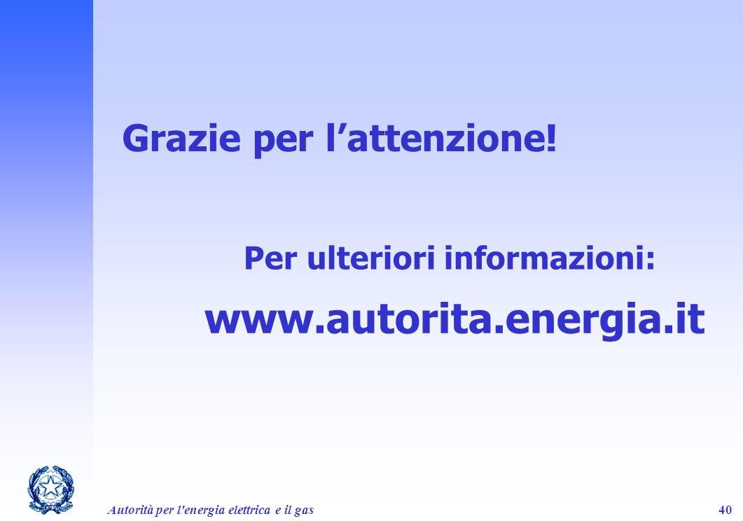 Autorità per l'energia elettrica e il gas40 Grazie per lattenzione! www.autorita.energia.it Per ulteriori informazioni: