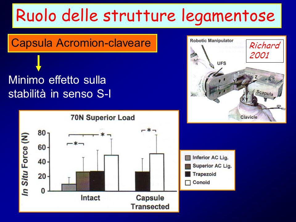 Ruolo delle strutture legamentose Capsula Acromion-claveare Richard 2001 Minimo effetto sulla stabilità in senso S-I