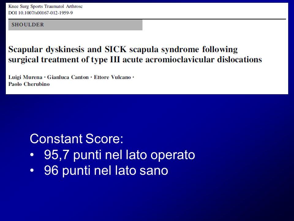 Constant Score: 95,7 punti nel lato operato 96 punti nel lato sano