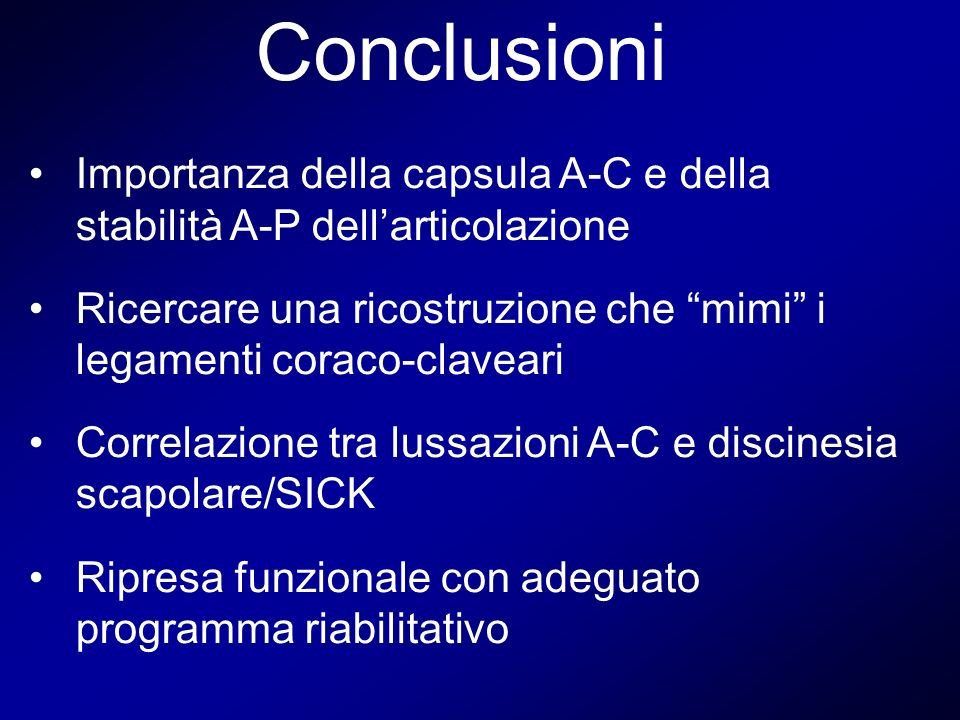 Conclusioni Importanza della capsula A-C e della stabilità A-P dellarticolazione Ricercare una ricostruzione che mimi i legamenti coraco-claveari Corr