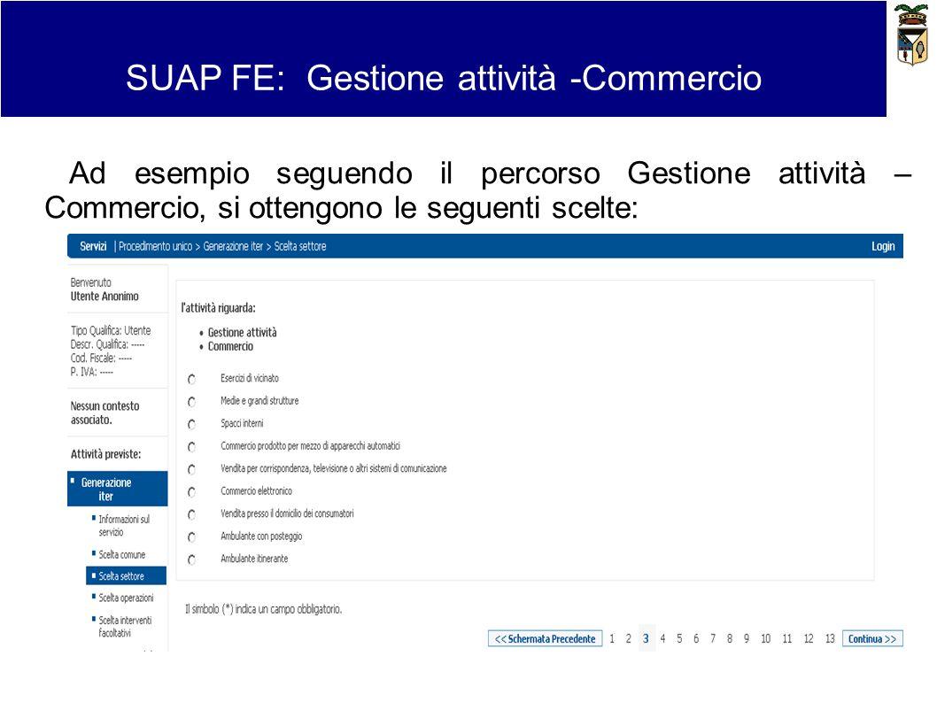 SUAP FE: Gestione attività -Commercio Ad esempio seguendo il percorso Gestione attività – Commercio, si ottengono le seguenti scelte: